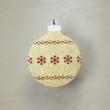 Karácsonyfa dísz - kerek, 8cm, arany-piros