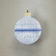 Karácsonyfa dísz - kerek, 8cm, ezüst-kék