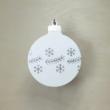 Karácsonyfa dísz - kerek, 8cm, fehér-ezüst