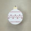 Karácsonyfa dísz - kerek, 8cm, fehér-piros