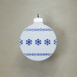Karácsonyfa dísz - kerek, 8cm, fehér-kék