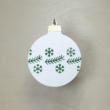 Karácsonyfa dísz - kerek, 8cm, fehér-zöld