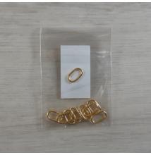 Szerelőkarika, ovális - arany, 7,3x12x1,2mm, 10db