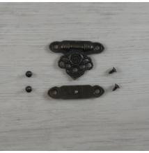 Zár, hosszúkás, díszes, csavarokkal - antik, 35x25mm, 1 szett/csomag
