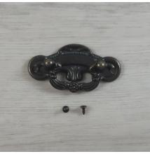 Foggantyú, hosszúkás, csavarokkal - antik, 58x24mm, 1 szett/csomag