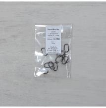 Szerelőkarika, ovális - fekete nikkel, 7,3x12x1,2mm, 10db