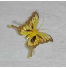 Lepke - sárga, csipeszes, 8cm