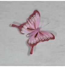 Lepke - rózsaszín, csipeszes, 8cm