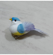 Madárka, tollas - kék, csipeszes, 8cm