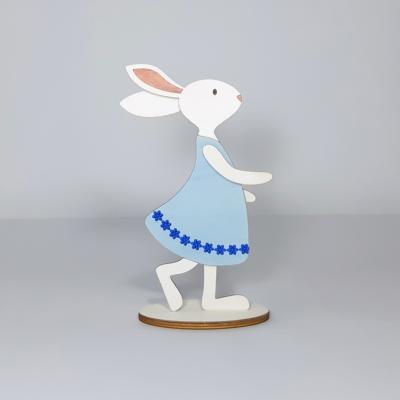 Nyuszi lány dekoráció, nagy - talpas, 10,5x20,5cm, festett