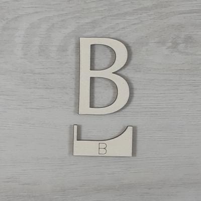B' betű, illesztősablonnal - 3 cm, natúr