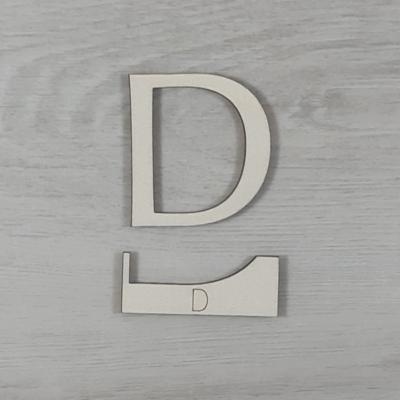 D' betű, illesztősablonnal - 3 cm, natúr