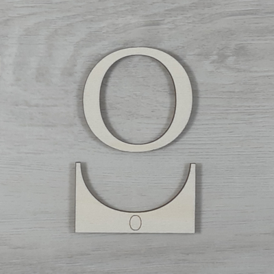 O' betű, illesztősablonnal - 3 cm, natúr