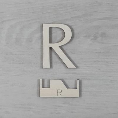 R' betű, illesztősablonnal - 3 cm, natúr