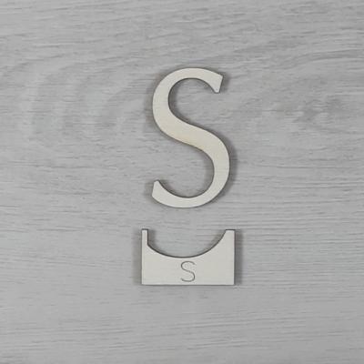S' betű, illesztősablonnal - 3 cm, natúr