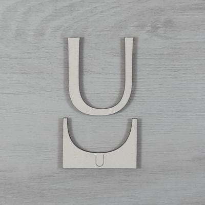 U' betű, illesztősablonnal - 3 cm, natúr