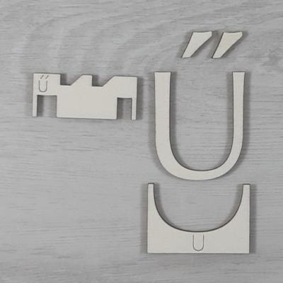 Ű' betű, illesztősablonnal - 3 cm, natúr