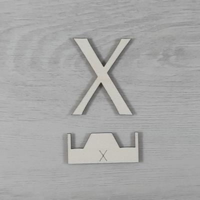 X' betű, illesztősablonnal - 3 cm, natúr