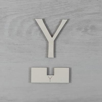 Y' betű, illesztősablonnal - 3 cm, natúr