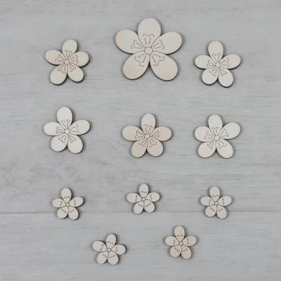 Boglárka virág dekor csomag - 11 db-os, natúr