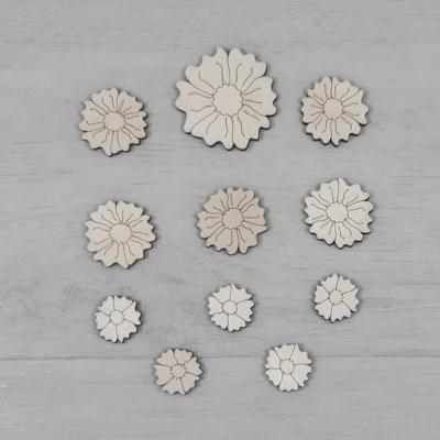 Mák virág dekor csomag - 11 db-os, natúr