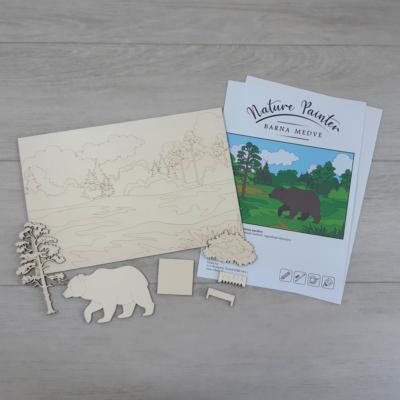 Barna medve - Nature Painter kifestő csomag, 30x20cm