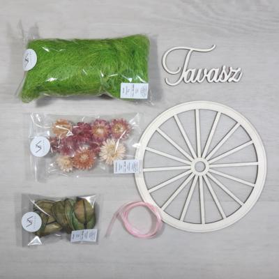 Tavaszi ajtódísz kreatív csomag - rózsaszín, 20cm