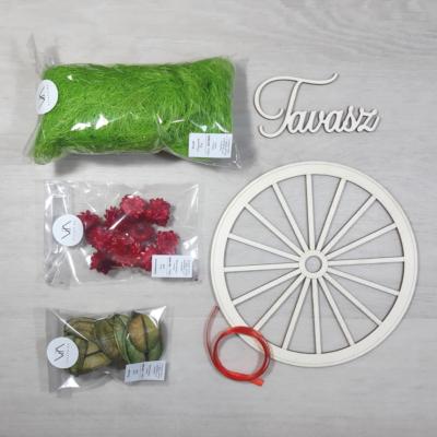 Tavaszi ajtódísz kreatív csomag - piros színű, 20cm