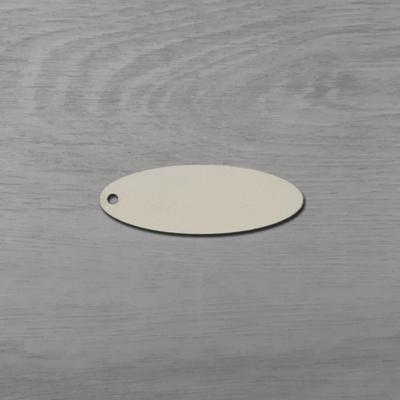 Ovális alakú tábla - 6,5x2,3cm, natúr