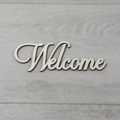 Welcome felirat - 'Cloe' betűtípussal, 15cm széles, natúr