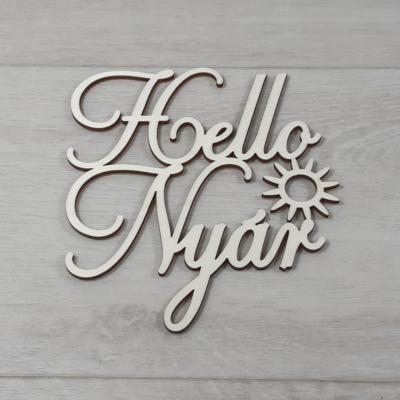 Hello Nyár felirat, 2 soros -  'Cloe' betűtípussal, 12cm széles, natúr