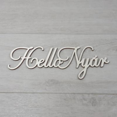 Hello Nyár felirat, 1 soros -  'Cloe' betűtípussal, 21cm széles, natúr