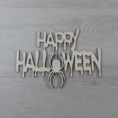 Happy Halloween felirat, pókos - 'Ghost', 21cm, natúr
