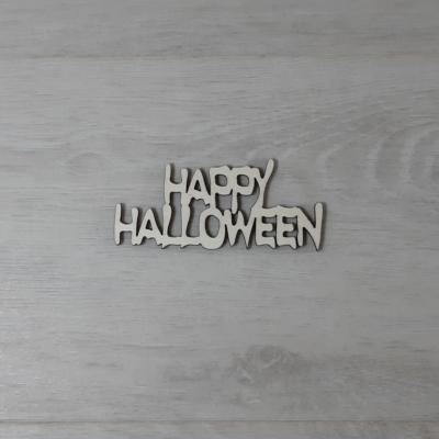 Happy Halloween felirat - 2 soros, 'Ghost', 10cm, natúr