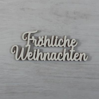 Fröhliche Weihnachten felirat - 'Molly' betűtípussal, 12cm széles, natúr