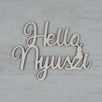 Hello Nyuszi felirat -  'Molly' betűtípussal, 12cm széles, natúr
