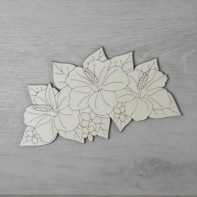 Hibiszkusz levéllel, 3 virágos - 15cm, natúr
