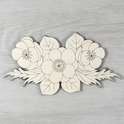 Keleti bazsarózsa levéllel, 3 virágos - 15cm, natúr