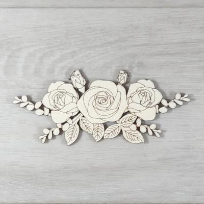 Rózsa levéllel, 3 virágos - 16cm, natúr