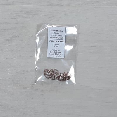 Szerelőkarika, ovális - vörösantik, 7,5x11x1,2mm, 10db