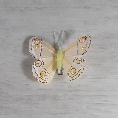 Lepke gyönggyel- sárga, csipeszes, 8cm