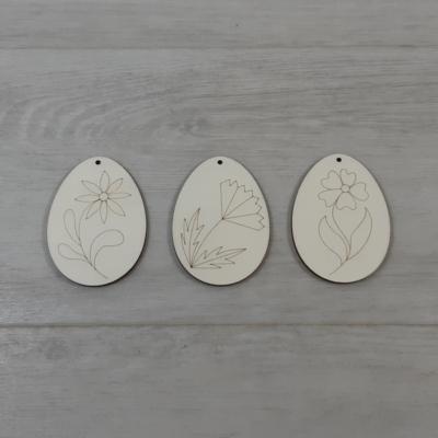 Tojás csomag, virágmintás - 3 féle, 8cm, natúr