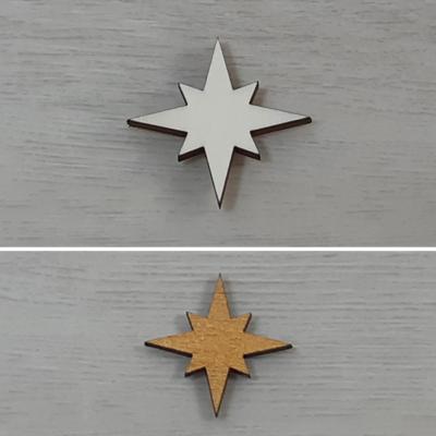 Csillag, 8 ágú, 2 - 5cm, natúr