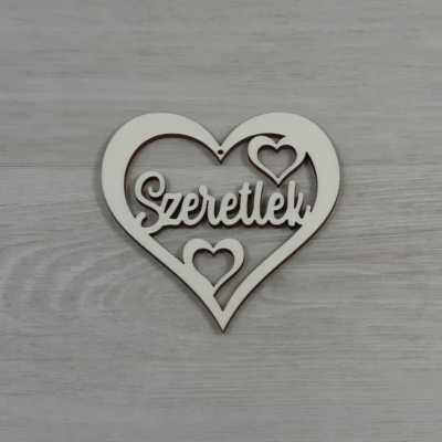 Áttört szív 'Szeretlek' felirattal - 10cm, natúr