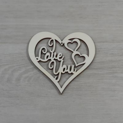 Áttört szív 'I Love You' felirattal - 10cm, natúr