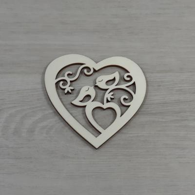 Madárkák szívben - 10cm, natúr