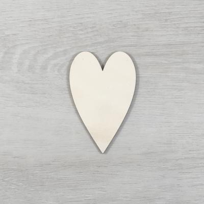 Hosszúkás szív alakú tábla - 3cm, natúr