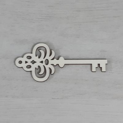 Kulcs, díszes - 10cm, natúr