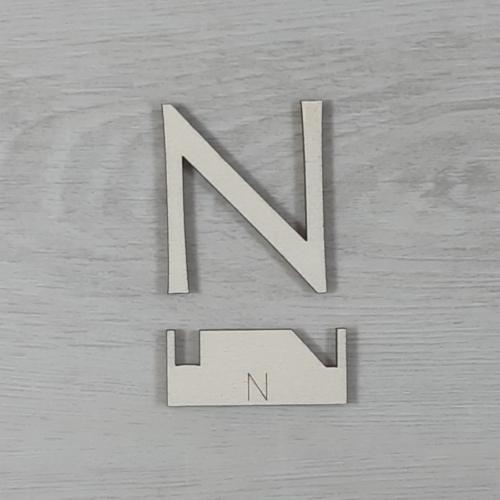 N' betű, illesztősablonnal - 3 cm, natúr