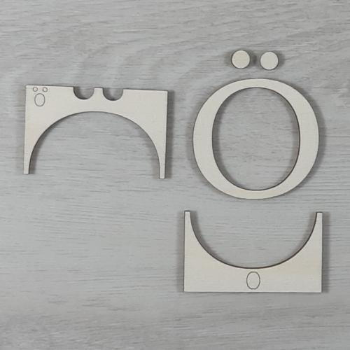 Ö' betű, illesztősablonnal - 3 cm, natúr